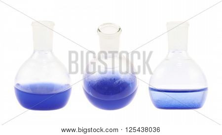 Erlenmeyer flask filled with the blue colored liquid isolated over the white background, set of three foreshortenings