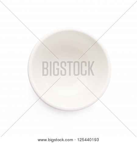 Small white ceramic bowl isolated over the white background, top view above foreshortening