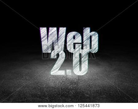 Web development concept: Web 2.0 in grunge dark room