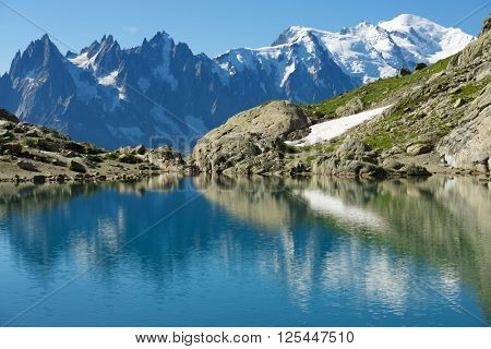 Mont Blanc reflected in Lac Blanc, Mont Blanc Massif, Alps, France