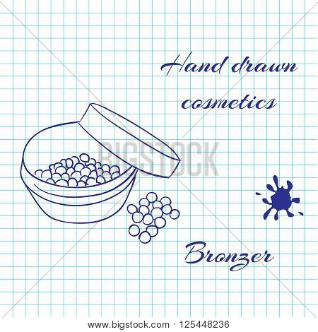 Hand drawn line art cosmetics on notebook paper background. Bronzer drawn with a pen. Vector ilustration EPS10