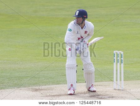 CHELMSFORD, ENGLAND - APRIL 11 2016: Alastair Cook of Essex during the Specsavers County Championship match between Essex and Gloucestershire at the County Ground in Chelmsford, England.