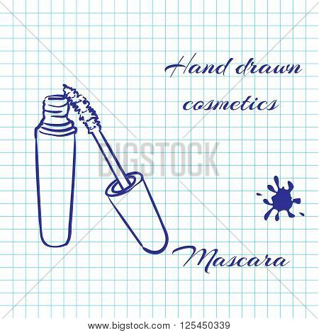 Hand drawn line art cosmetics on notebook paper background. Mascara drawn with a pen. Vector ilustration EPS10