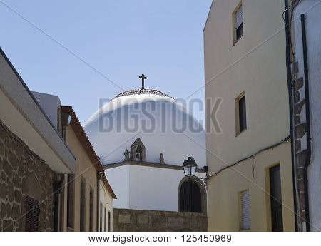 The entrance of the Chapel of Good Help (Capela do Socorro) seen from the adjacent street in Vila do Conde Portugal