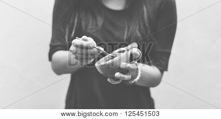 Woman Ice Cream Sorbet Sherbet Sweet and Sour Dessert Concept