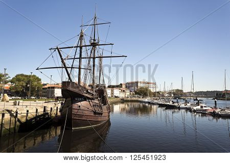 VILA DO CONDE, PORTUGAL - September 20, 2015: Replica of a fifteenth century caravel. on September 20, 2015 in Vila do Conde, Portugal