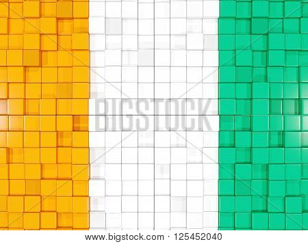 Background With Square Parts. Flag Of Cote D Ivoire. 3D Illustration