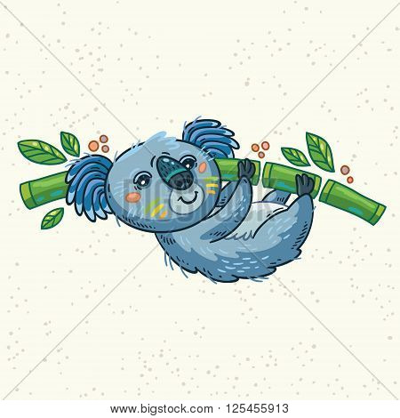 Australian Koala Bear hung on the tree. Vector kid illustration. Art print