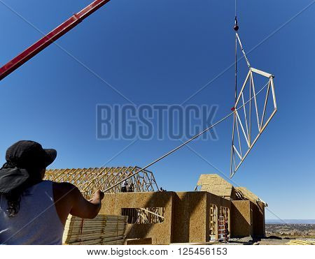 New Home Roofing Truss Installation