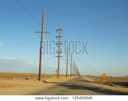 Telephone Poles lining a Desert Road in California
