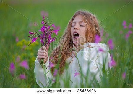 pollen allergy sneeze in field poster