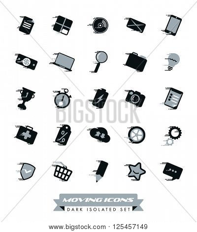 Fast Moving Icons Collection. Set of gray and black icons with speed streaks