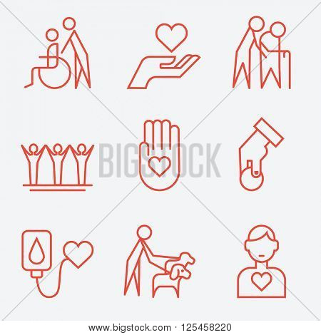 Donation and volunteer work concept icons, thin line style, flat design