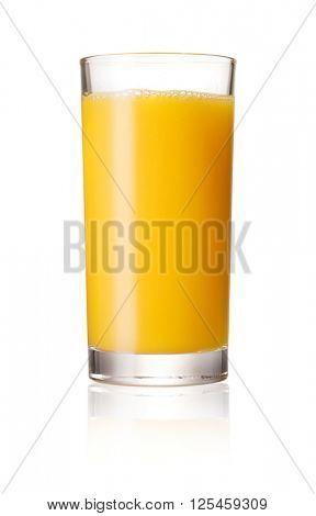 Orange juice glass, isolated on white background