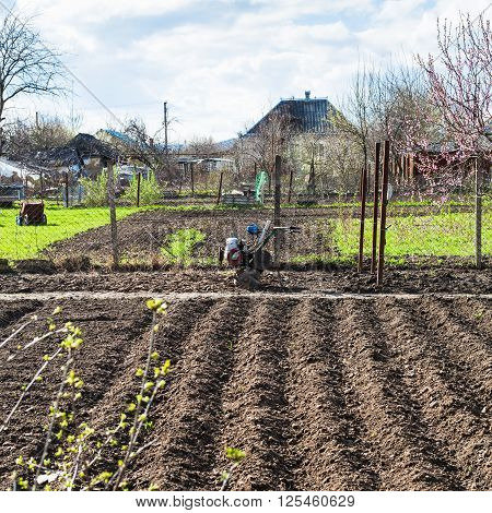 Plough Vegetable Beds And Cultivato In Village