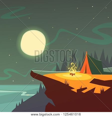 Hiking at night cartoon background with tent fire moon and stars vector illustration