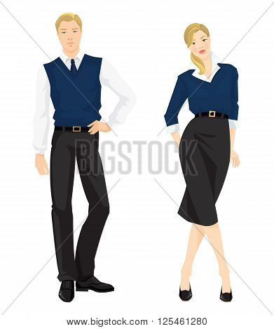 Vector illustration of young man and girl in formal clothes isolated on white background. Man in white blouse, black pants, navy necktie and sweater vest. Girl in black skirt, white blouse and sweater