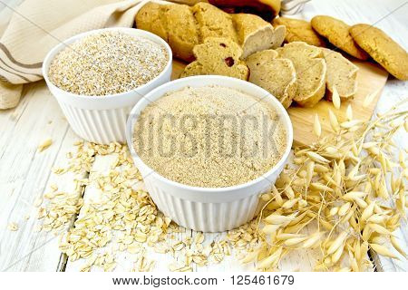 Flour Oat In White Bowl With Bread On Board