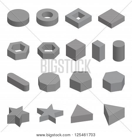 Monochrome set  of geometric shapes, platonic solids, vector illustration isolated on white