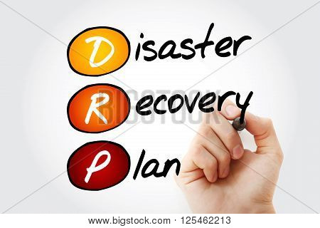 Hand writing DRP - Disaster Recovery Plan with marker acronym business concept poster