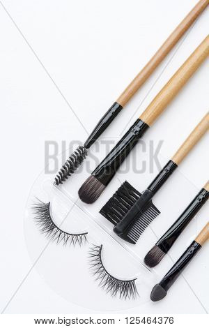 Isolated Eyelash And Eye Makeup Brushes Kit