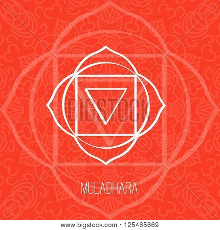 Lines geometric illustration of one of the seven chakras - Muladhara on the red background the symbol of Hinduism Buddhism. Hand painted mandala texture. For design associated with yoga and India.
