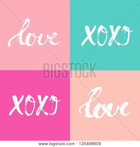 Hand drawn typography lettering four words Love and XOXO on the colorful background. Modern calligraphy for typography greeting and invitation card or t-shirt print design.