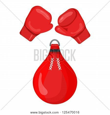 Boxing gloves and punching bag red icon isolated on the white background. Boxing gloves and punching bag logo for gym or fitness club. Sports equipment illustration set.