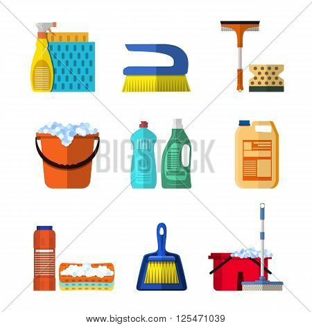 Cleaning icons set with mop soap and gloves, red plastic bucket, cleaning products in bottle for floor and glass. vector illustration isolated in flat design.