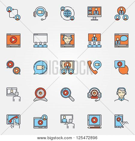 Business communication icons - vector colorful video conference signs. Online conference or meeting symbols