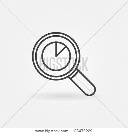 Magnifying glass with pie chart icon - vector business analysis logo element or data analytics sign in thin line style