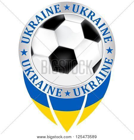 Ukraine football team sign, containing a soccer ball and the Ukrainian flag