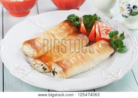 Pita zeljanica, balkans phyllo pastry filled with spinach and cheese poster