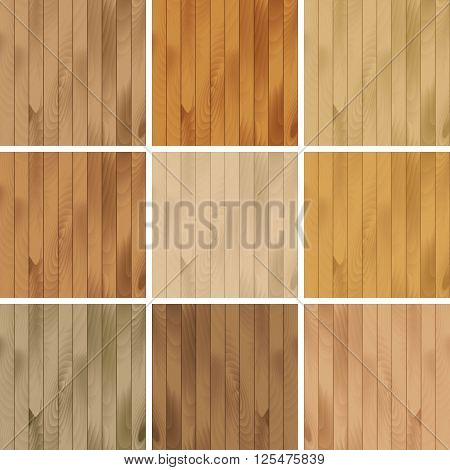 Vector Illustration of Set of Wooden Seamless Textures Patterns Backgrounds