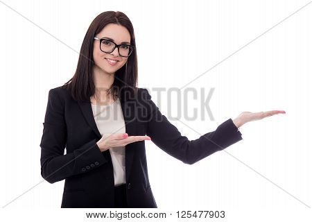 Happy Business Woman Holding Or Presenting Something Isolated On White