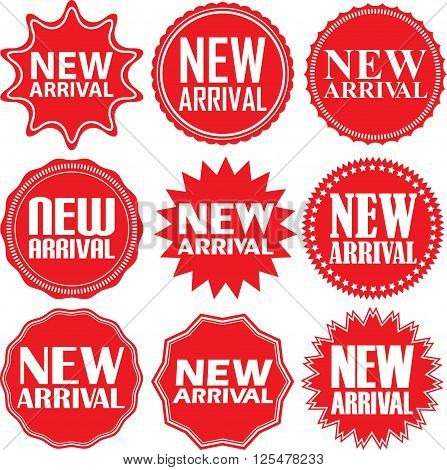 New arrival signs set, new arrival sticker set, vector illustration