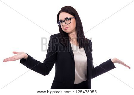 Pretty Business Woman Shrugs Shoulders With Open Palms Isolated On White