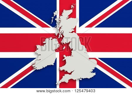 Silhouette Of United Kingdom Map With Flag