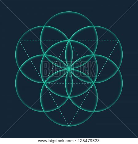 Flower Of Life Sign. Vector Isolated Geometric Symbol Flower Of Life. Flower Of Life Symbol With Cir