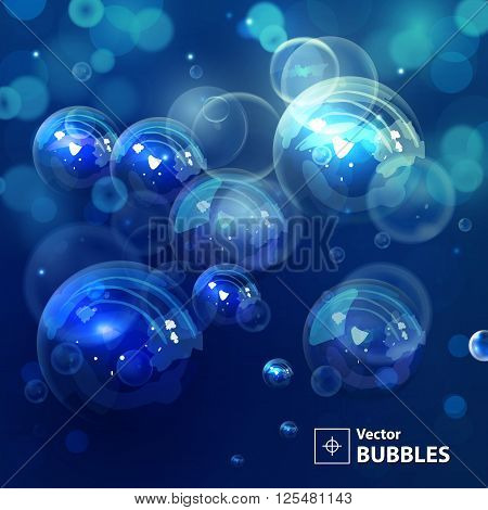Dark blue blur background with bubbles. Holiday abstract background with bokeh. Vector illustration