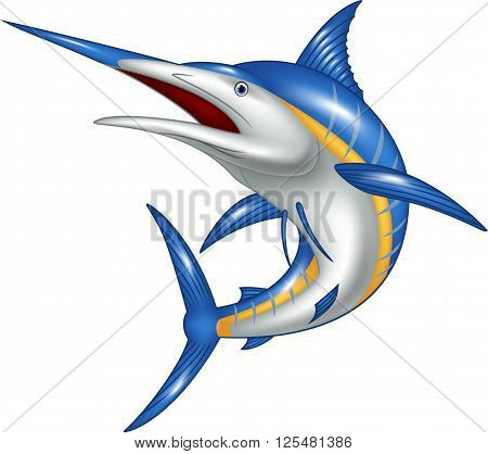 Vector illustration of Marlin fish cartoon isolated on white background