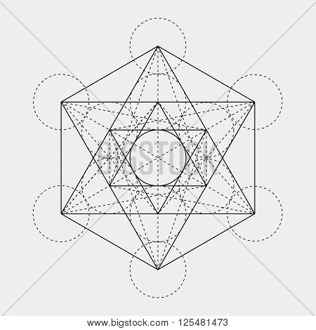 Metatron's Cube. Flower Of Life. Vector Geometric Symbol Isolated. Sacred Geometric Figure Named Met