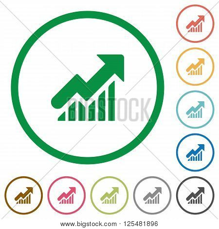 Set of Rising graph color round outlined flat icons on white background