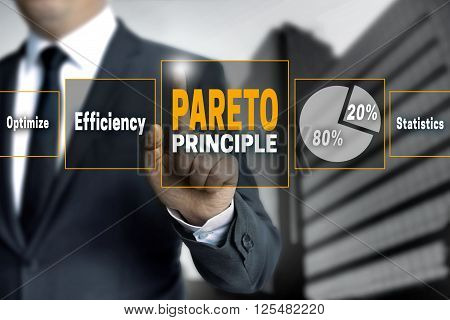 Pareto touchscreen is operated by businessman background