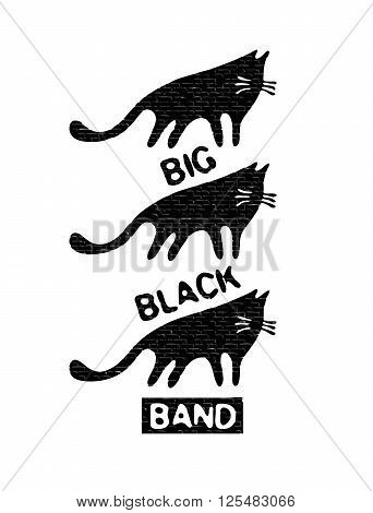 Gang of black cats. Retro design for posters, T-shirts, bags with silhouettes of cats and grunge effect. Vector illustration