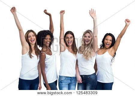 Portrait of multiethnic women standing with hand raised on white background