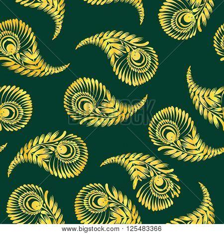 Seamless indian cucumbers pattern. Stock mehndi illustration for design