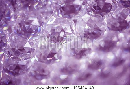 Toned and selective focus image. A group of crystals on a blue background