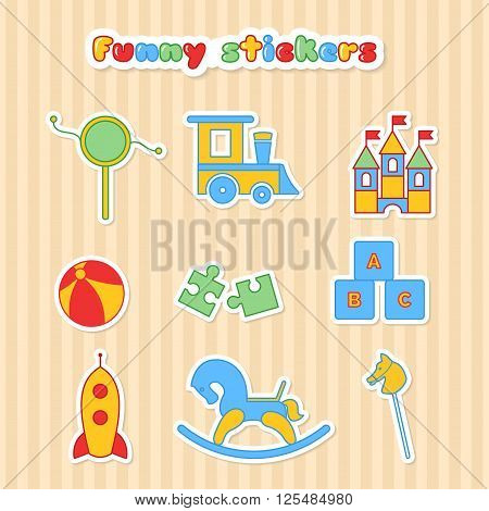 Set of vector sticker of toys. Collection of toys stikers for children. Vector illustration in a flat style. Vector elements for web design, mobile applications, design flyers discounts, advertising