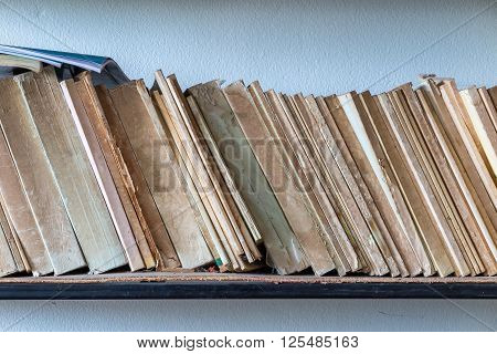 Old book on shelf, a knowledge source